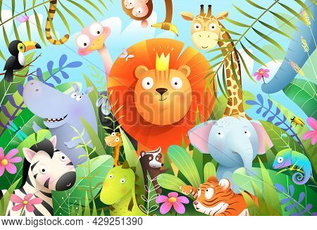 Jungle Animals For Children With Lion King In Tropical Forest And His Baby Animal Friends. Wild Jung