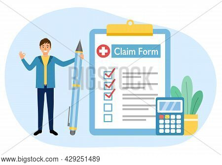 Man Standing With Health Insurance Claim Form, Calculator And Pen In Flat Design. Medical Insurance