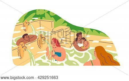 People Relaxing And Bathing In Hot Springs Of Asian Public Spa Resort In Nature. Happy Tourists Rest