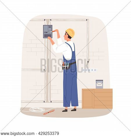Electrician Repairing And Installing Electrical Wiring System. Workman Fixing Wires And Cables With