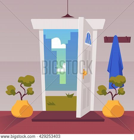 Home Exit Or Doorway With Open Door And View On City, Flat Vector Illustration.