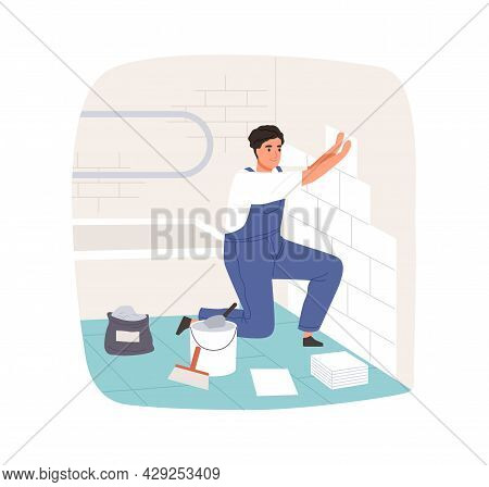 Worker Laying And Attaching Ceramic Wall Tile In Bathroom. Professional Tiler In Overalls Working. R