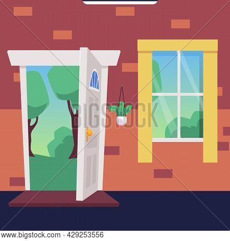 Cartoon Flat Vector Illustration Of Open Wooden Door And Window, Sunny Forest In The Doorway.