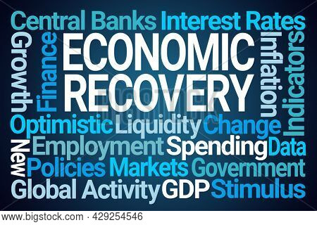 Economic Recovery Word Cloud on Blue Background