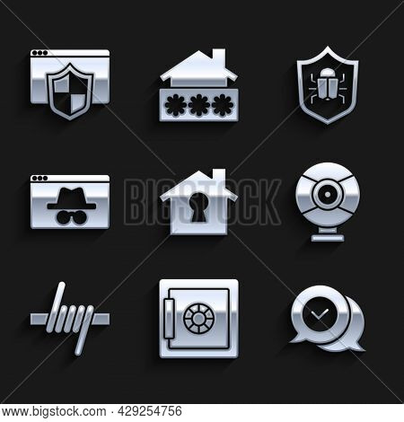 Set House Under Protection, Safe, Check Mark In Speech Bubble, Security Camera, Barbed Wire, Browser