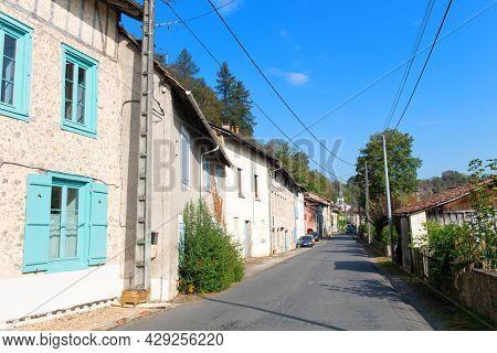 Street in French Saint-Leonard-de-Noblat in the Haute-Vienne