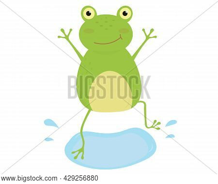 Cute Cartoon Frog Jumping Into The Puddle