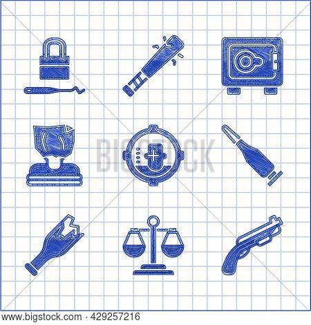 Set Headshot, Scales Of Justice, Police Shotgun, Bullet, Broken Bottle As Weapon, Kidnaping, Safe An