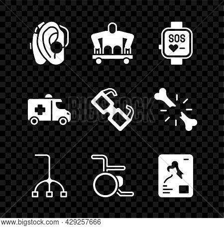 Set Hearing Aid, Man Without Legs Sitting Wheelchair, Smart Watch, Walking Stick Cane, Wheelchair, X