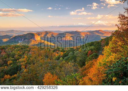 Pisgah National Forest, North Carolina, USA at Looking Glass Rock during autumn season in the morning.