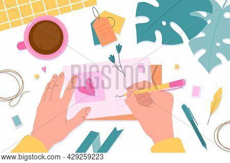 Hands With Postcards. Message Preparing For Mailing, Postcrossing Hobby, Hands On Desktop Sign Envel