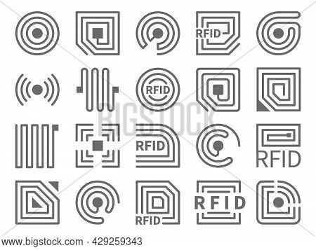 Rfid Icons. Electronic Readers Technology, Different Forms, Near Field Communication And Radio Frequ