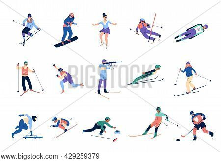 Winter Sports Skating. Skiers And Snowboards Athletes, Mountains Ski Jumping And Freestyle, Bobsleig