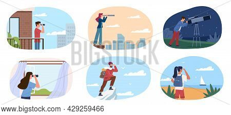 People Look Future. Different Characters With Spyglass And Telescope Look Distance, City Environment