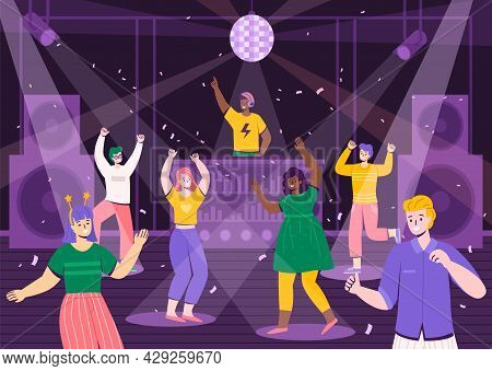 Disco Party People. Men And Women Have Fun On Dance Floor. Musical Night Club. Cartoon Guys Or Girls