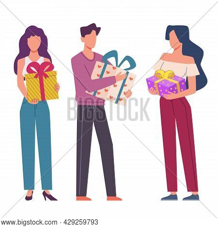 Celebrating People With Gifts. Happy Characters Group Holding Presents With Ribbons, Fun Company Con