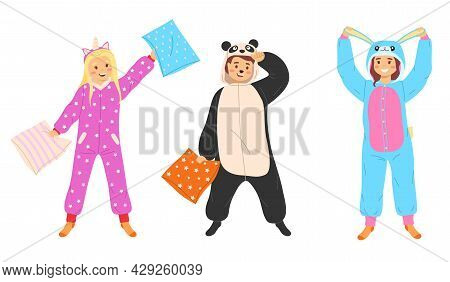 Kids Animal Pajamas. Boys And Girls In Overalls Standing Smiling. Panda Unicorn And Rabbit Funny Cos