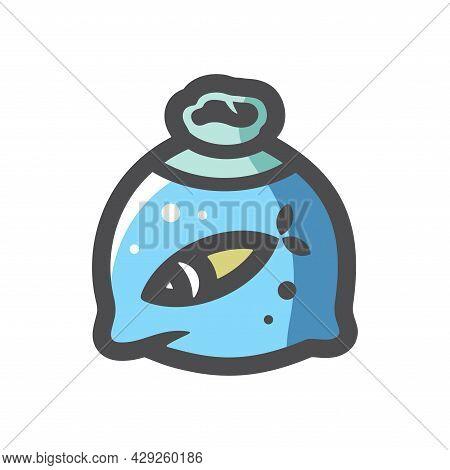 Bag Fish Fishbowl Vector Icon Cartoon Illustration