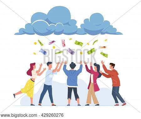 Money Rain. Cartoon Happy People Catching Banknotes And Gold Coins Falling From Clouds. Successful M
