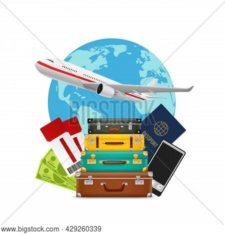 Tourism. Suitcase Pile, Plane And World Map. Foreign Passport, Camera And Tickets, Journey And Holid
