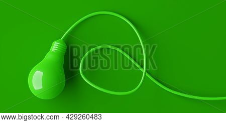 Green Lightbulb With Cable On Green Bacground, Abstract, Minimal Modern Green, Environment Or Ecolog