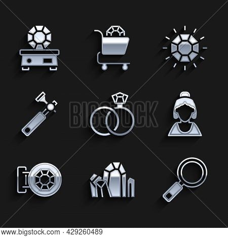 Set Wedding Rings, Gem Stone, Magnifying Glass, Consultant Of Jewelry Store, Jewelry, Jewelers Lupe,