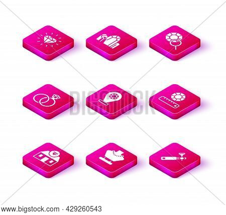 Set Jewelry Store, Necklace On Mannequin, Wedding Rings, Jewelers Lupe, Gem Stone, And Icon. Vector