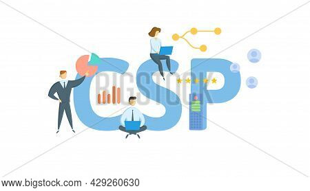 Csp, Classification Settlement Program. Concept With Keyword, People And Icons. Flat Vector Illustra