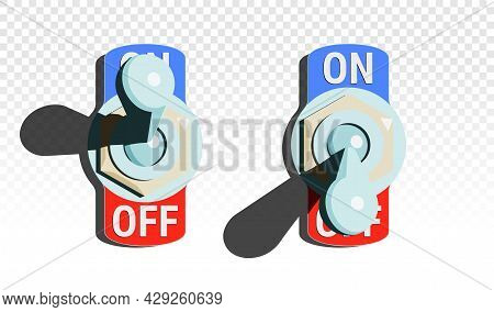 Set Of Toggle Switches Turned On And Turned Off With Shadow On Transparent Background. Vector Illust
