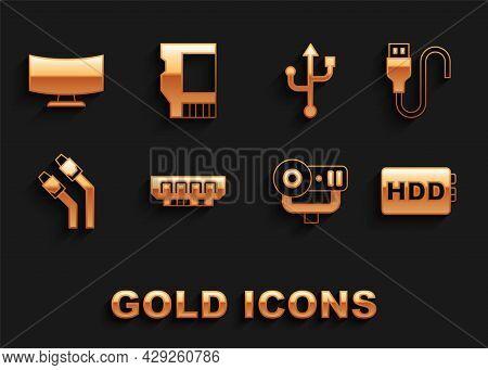 Set Ram, Random Access Memory, Usb Cable Cord, Hard Disk Drive Hdd, Web Camera, Lan Network Internet