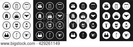 Set Cycling Shorts, Handbag, Pants, Skirt, Men Underpants, Hoodie And Tie Icon. Vector
