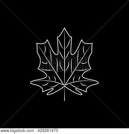 Contoured Maple Leaf For Design Maple Leaf In Stained Glass Illustration. Autumn Design. Forest Them