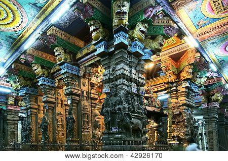 Madurai Tamil Nadu India March 10 2011. Inside of Meenakshi hindu temple