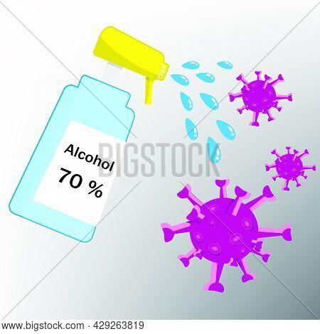 Alcohol For Anti Virus. Alcohol Spray Bottle. Spraying Anti-virus Sanitizer Spray. The Corona Virus