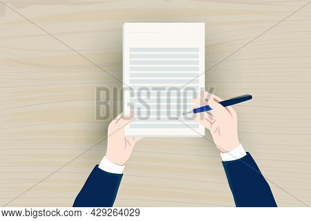 Business Man Hand Holding Contract Agreement Vector Illustration, Signed Treaty Paper With Pen, Lega