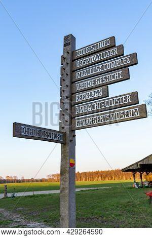 Veenhuizen, The Netherlands - April 16, 2021: Street Sign Historic Site Veenhuizen With Historical B