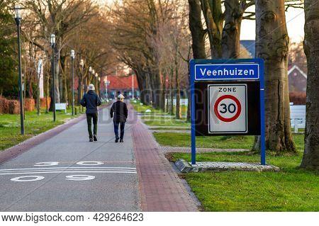 Veenhuizen, The Netherlands - April 16, 2021: Walking Along Historic Site Veenhuizen With Historical