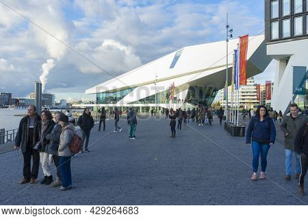 Amsterdam, Netherlands - Nov 30, 2019 : The Futuristic Building Shape Of The Eye Film Museum On The