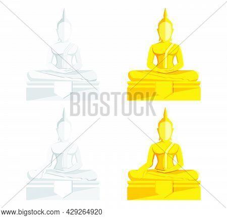 Buddha Statue, Golden Buddha Vector  Buddhism Illustration