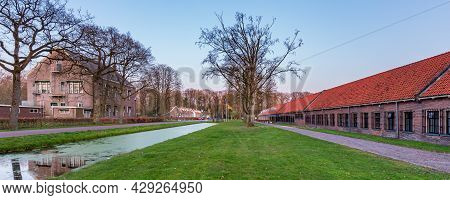 Veenhuizen, The Netherlands - April 16, 2021: Entrance Of Historic Site Veenhuizen With Historical B