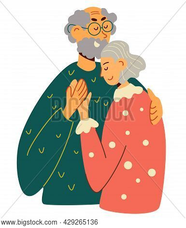 Old Man And Woman Hugging Together. Elderly Married Couple Embracing Each Other With Love. Retired E
