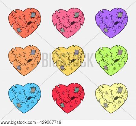 Heart Attack Or Infarct Sign. Damaged Heart Icon. Bad Valentine's Day Postcard. Divorce Emblem.