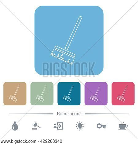 Household Broom White Flat Icons On Color Rounded Square Backgrounds. 6 Bonus Icons Included