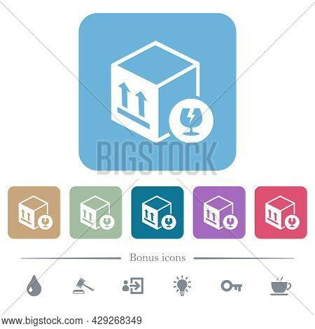 Fragile Package White Flat Icons On Color Rounded Square Backgrounds. 6 Bonus Icons Included