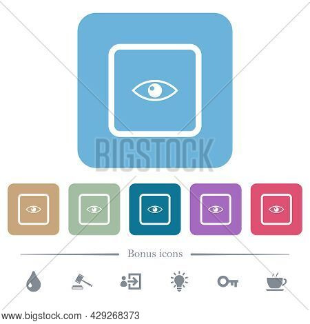 Preview Object White Flat Icons On Color Rounded Square Backgrounds. 6 Bonus Icons Included