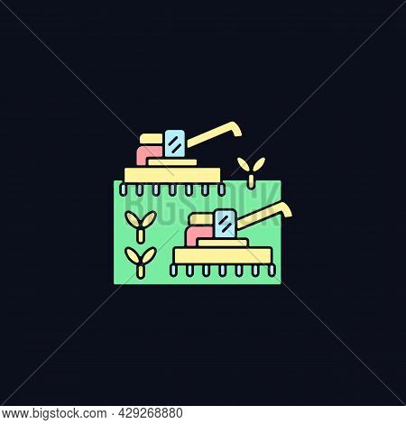 Mechanized Agriculture Rgb Color Icon For Dark Theme. Using Of Equipment And Implement In Farming. I