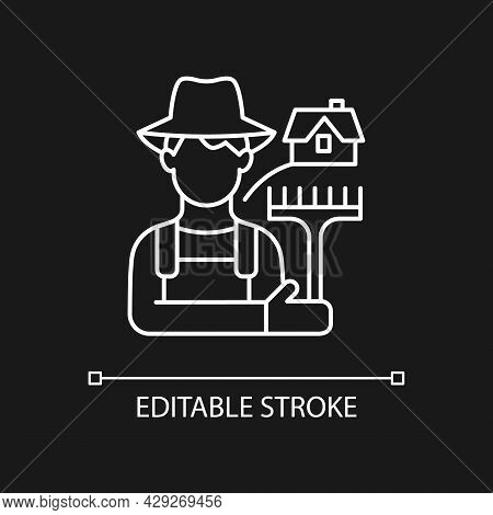 Rural Workers White Linear Icon For Dark Theme. Man Stands Near Barn. Labourer With Tool. Thin Line