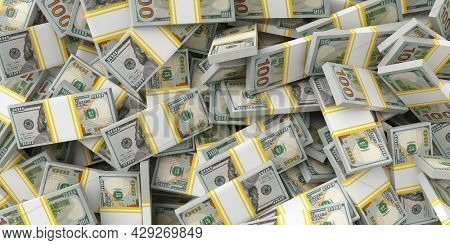 Dollars in packs money. American currency business concept with dollars bill banknotes. Jackpot winning cash rain background texture. 3d illustration.