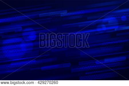Abstract Tech Background With Creative Futuristic Design. Digital Image Of Dynamic Blue Light Rays S