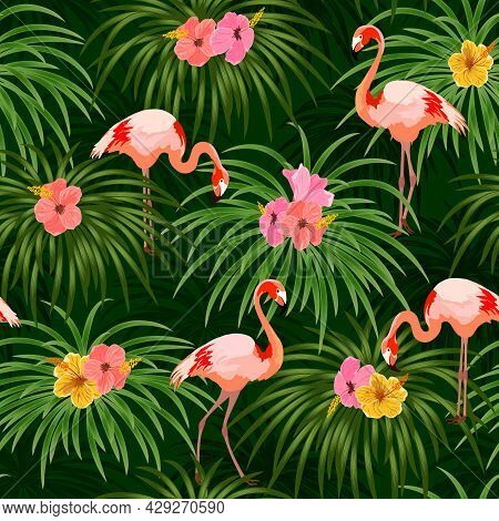 Flamingos And Flowers In A Pattern.flamingos On A Background Of Tropical Flowers And Leaves In A Col